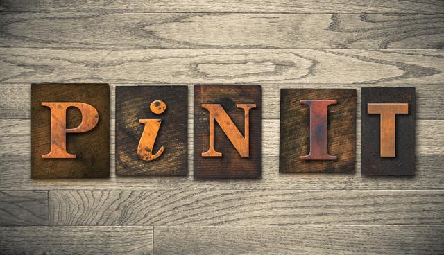 Pin It Concept Wooden Letterpress Type